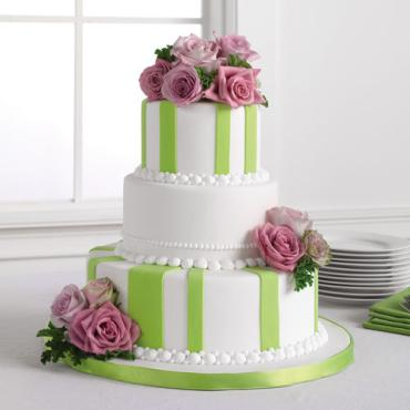 Striped Fondant Cake with Lavender Roses