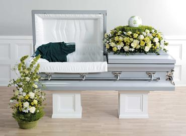 White & Green Sympathy Arrangements