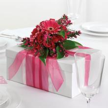 Ribbon-Wrapped Box Reception Centerpiece